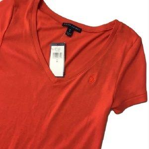 New RALPH LAUREN orange V-neck logo T shirt M
